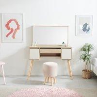 퍼피노 코코 원목 수납화장대 거울 스툴 의자