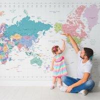 파스텔월드맵  세계지도벽지