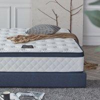 라텍스 탑 7존 독립 스프링 평상형 침대 네이비 K (킹 사이즈)