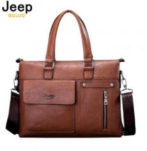 8b58209bb27 (글로벌스토어) Jeep Buluo Men Business Briefcase Leather Shoulder Bags For 14  inch Laptop