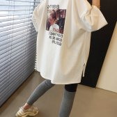 카와이 박시 티셔츠 롱 루즈핏 트임 레이어드 라운드 오버핏 레터링 여성
