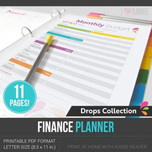 iloveplanners 재무 플래너 - 재무 바인더 - 가정에서 인쇄 할 준비가 된 PDF 형식의 11 페이지! - 가계 재정 - 금전 관리