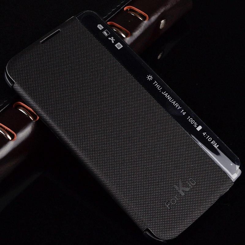LG K10 케이스 PC 커버 뷰 사이드 창 빠른 답변 가죽 스마트 펀다 K410 전화 플립 coque