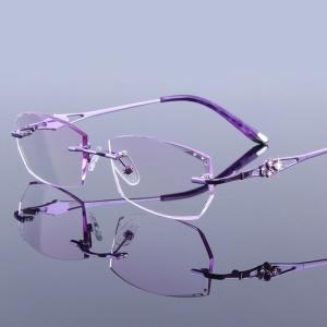792b97c12f3 (해외) Luxury 석 안경 무테 암 한 원시 Women s Purple 노안 눈