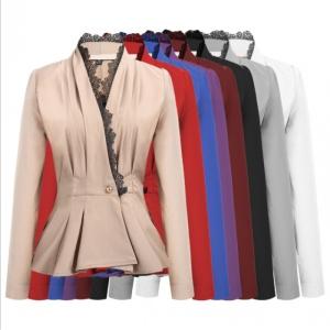 4e396cf059a Fashion Women OL Style Long Sleeve Lace Patchwork Blazer Elegant Slim Suit  Coat