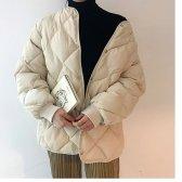 노카라 라운드 경량 웰론 다이아 퀄팅 누빔 숏 패딩 자켓 충전재 솜