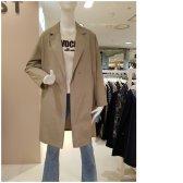 리스트 봄 레드라벨 코튼 블렌드 솔리드 롱 재킷 TWWJKJ52020_LB