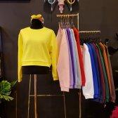 팬톤 컬러 무지 크롭 루즈핏 봄 맨투맨 티셔츠