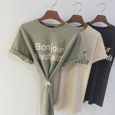 1+1  두번째 봉주르 레터링 루즈핏 티셔츠