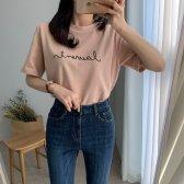 레터링 여성 반팔 티셔츠