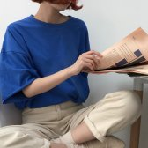 여성 오버핏 7부 반팔 티셔츠