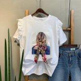 프릴 에스닉 백 리본 티셔츠