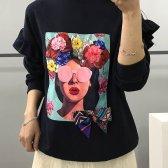 샤방 리본 플라워 스카프 맨투맨 프릴 티셔츠