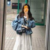 오버핏 벌룬 퍼프 소매 청 데님자켓