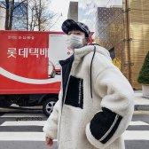 남자 겨울 두꺼운 오버핏 양털 후드집업