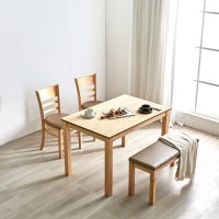 동서가구 스칸디 고무나무원목 2인 4인용 식탁세트 (하이그로시, 와이드, 대리석)