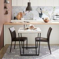 한샘 프레임 대리석 2인 식탁세트 의자2 포함