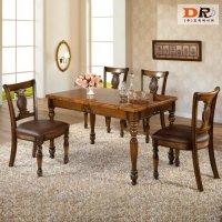 도리퍼니처 루카스 4인 식탁 세트 / 엔틱 대리석 고급 주방 거실 업소 4인용 테이블 의자