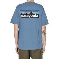 파타고니아 P6 로고 오가닉 티셔츠 피존 블루