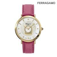 페라가모 미뉴에트 골드 핑크 레더 시계