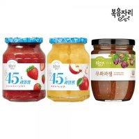 복음자리 45도 과일잼 3개 세트 (딸기+사과+무화과) / 토스트잼 홈카페 레시피