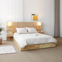 [하모니]B형 호텔 원목 침대 프레임 협탁세트