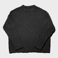 [애쉬아워] Ribbed Crew Neck Knit Black