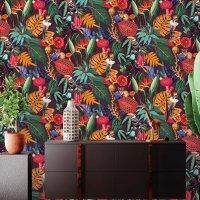 포인트벽지 레그노 911-72번 기발하고 재미있는 열대 잎, 동물 디자인 수입벽지