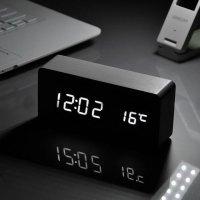 LED 무소음 디지털 탁상시계 우드