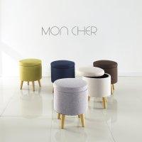 수납 스툴 심플 포인트 컬러 패브릭 원형 원목 화장대 의자 몽쉘