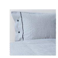 이케아 NYPONROS 뉘폰로스 이불커버+베개커버, 화이트/블루 150x200/50x80cm 102.338.91