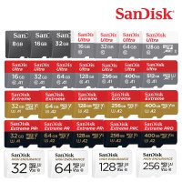 샌디스크 마이크로 SD메모리 카드 블랙박스 액션캠 고프로 핸드폰 스마트폰 휴대폰 갤럭시 8 16 32 64 128 256 512