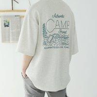 남자 7부 오버핏 박스 여름 면 반팔 CAMP 커플티셔츠 [3컬러]