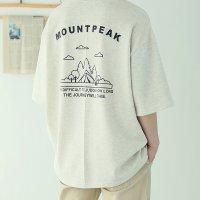 남자 7부 오버핏 박스 여름 면 반팔 마운트피크 커플티셔츠 4컬러