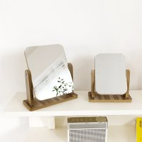 클래식 우드 회전 사무실 탁상 거울 2종