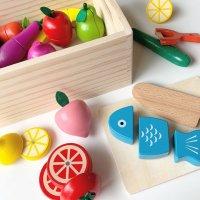 앤도르프 원목 소꿉 놀이 세트 주방놀이 소품 나무 자석 과일 자르기 아기 유아 장난감 16종