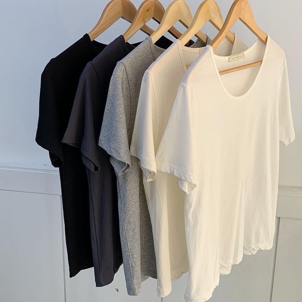기본 무지 유넥 이너 반팔 티셔츠 (5color) 여자 가을