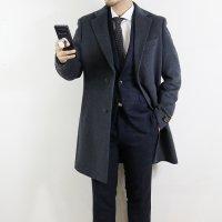 바쏘옴므 U4CA08 CH 차콜 슬림핏 캐시미어 울 투버튼 싱글 코트 체스터 정장 코트