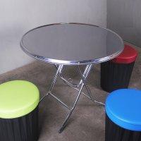 깡통 접탁자 업소용 접이식 야외 스텐상판 원형 테이블