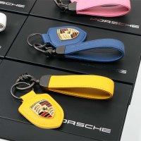 포르쉐 최고급 가죽 방패 키홀더 키케이스 키링 스트랩 타이칸 파나메라 마칸 카이엔 911 카레라 718 카이맨 박스터