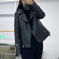 여성 이태리 델파쵸 리얼 천연 양가죽 오버핏 슬림핏 라이더 자켓 네이비 블랙