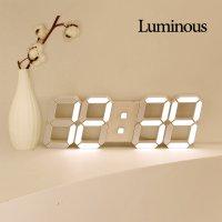 국산 루미너스 제니스 크림화이트 LED벽시계 무소음벽걸이 디지털전자 인테리어 거실날짜시계