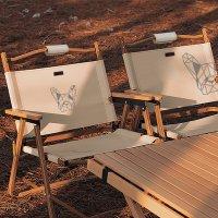 [매드독캠프] 캠핑 폴딩로우체어 감성 우드 컴팩트 의자