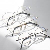 가벼운 슬림 라인 전면부까지 all 티타늄 국산 동글이 안경테