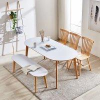 이노센트 엔젤라 화이트 고무나무원목 타원형 벤치의자 6인용 식탁세트 1800