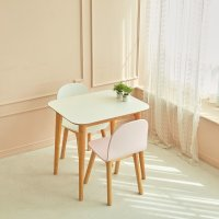 코지앤스페이스 HPM 코튼 타원형 라운드 화이트 2인 원목식탁 테이블
