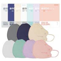 미엘 숨쉬고 스타일업 컬러 마스크 10매 2D 새부리형 멜트블로운필터 (소형/대형)