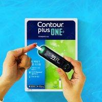 컨투어플러스 원 혈당 측정기+시험지100+침+105+알콜솜100 당뇨 체크기 로그메디