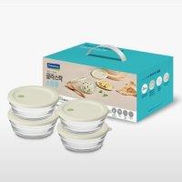 글라스락 원형 렌지볼 4p 세트 냉동밥 햇쌀밥 이유식 전자렌지 용기 밀폐