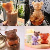 엄마곰 아기곰 곰돌이 얼음 틀 2P세트 홈카페 실리콘 커피 소주 아이스 트레이 비누 몰드